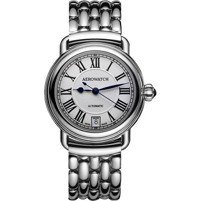 AEROWATCH 經典扭索時尚機械腕錶-銀/35mm
