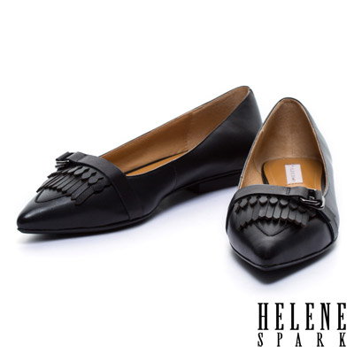 平底鞋-HELENE-SPARK-皮帶流蘇造型羊皮