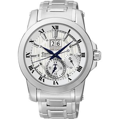SEIKO PREMIER 人動電能大視窗萬年曆腕錶-銀/41mm