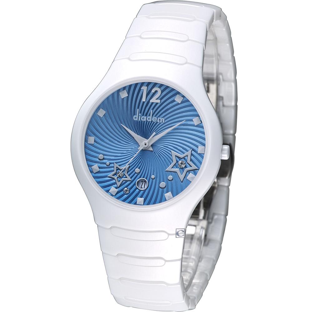 Diadem 黛亞登 魔幻星空白陶瓷時尚腕錶-藍/36mm