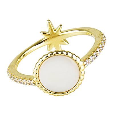 apm MONACO VALENTINE系列晶鑽鑲飾流星母貝設計純銀戒指-金