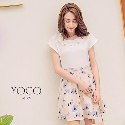 東京著衣-yoco 普羅旺斯女孩波浪領印花短袖洋裝-XS.S.M(共二色)