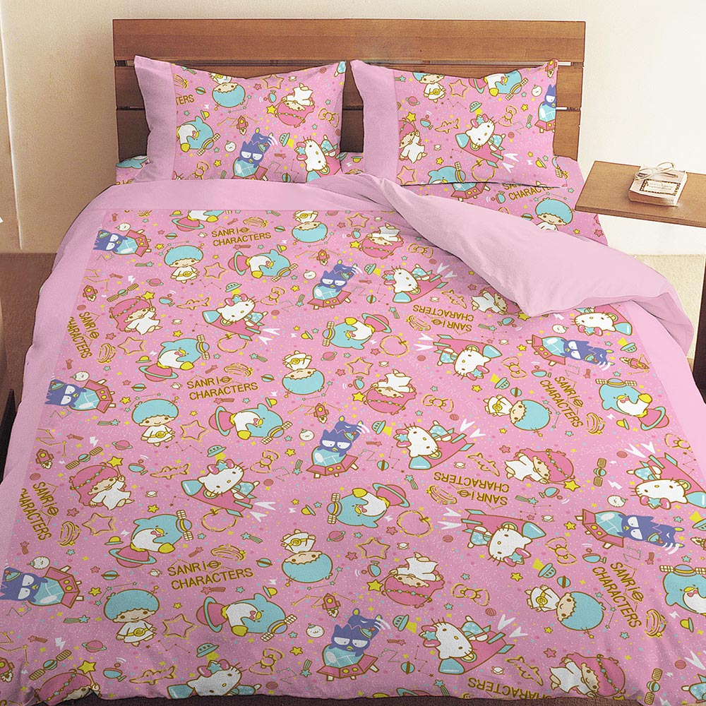 三麗鷗 55週年太空風系列-單人三件式床包涼被組(粉)(藍紫)