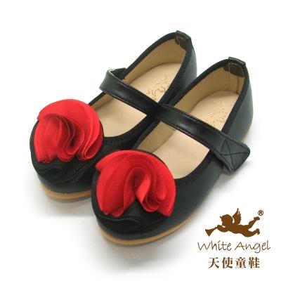 天使童鞋 JU779 雙色日光薔薇娃娃鞋 紅/黑