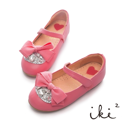 iki2童鞋-寶石緞帶舒適羊皮娃娃鞋-粉