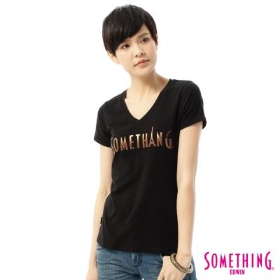SOMETHING-T恤-印花燙鑽V領T恤-女-黑色