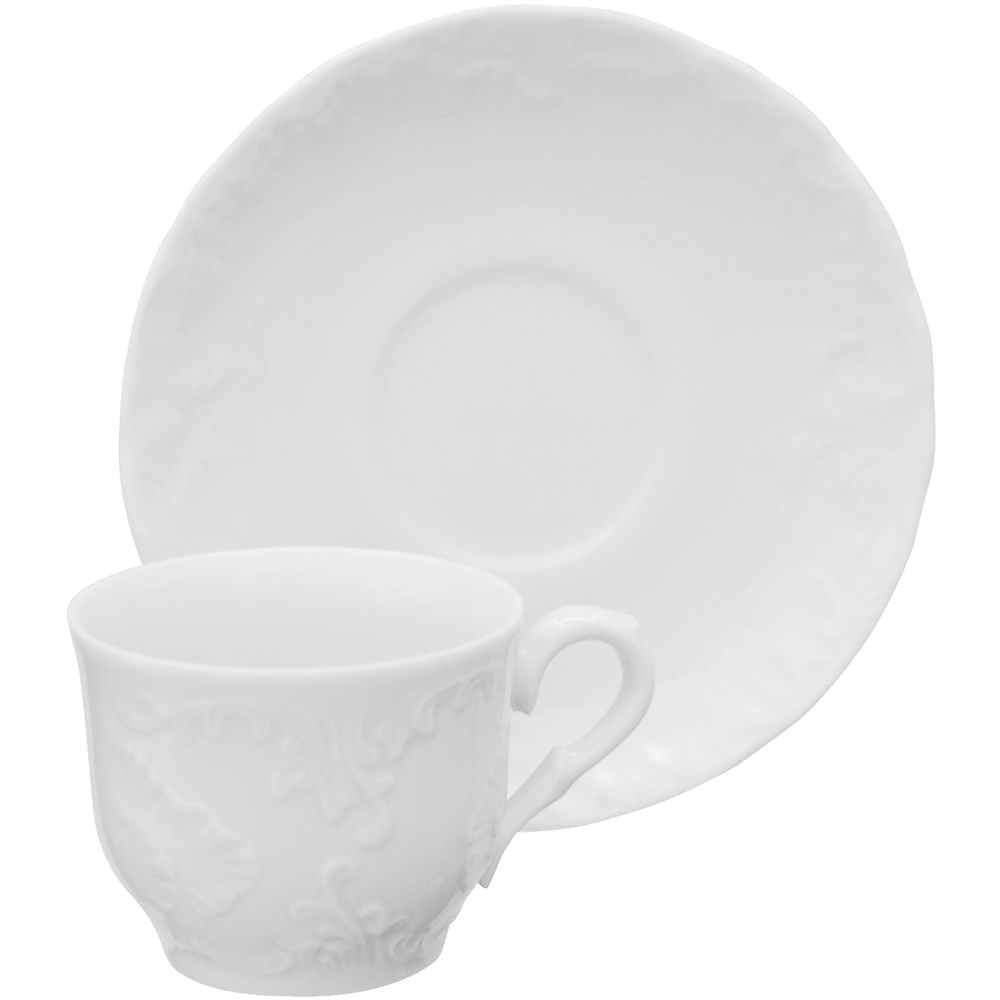 EXCELSA Elisa瓷製咖啡杯碟組(白80ml)