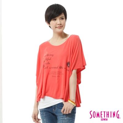 SOMETHING-T恤-隨意自在印花垂袖造型T-女-桔紅