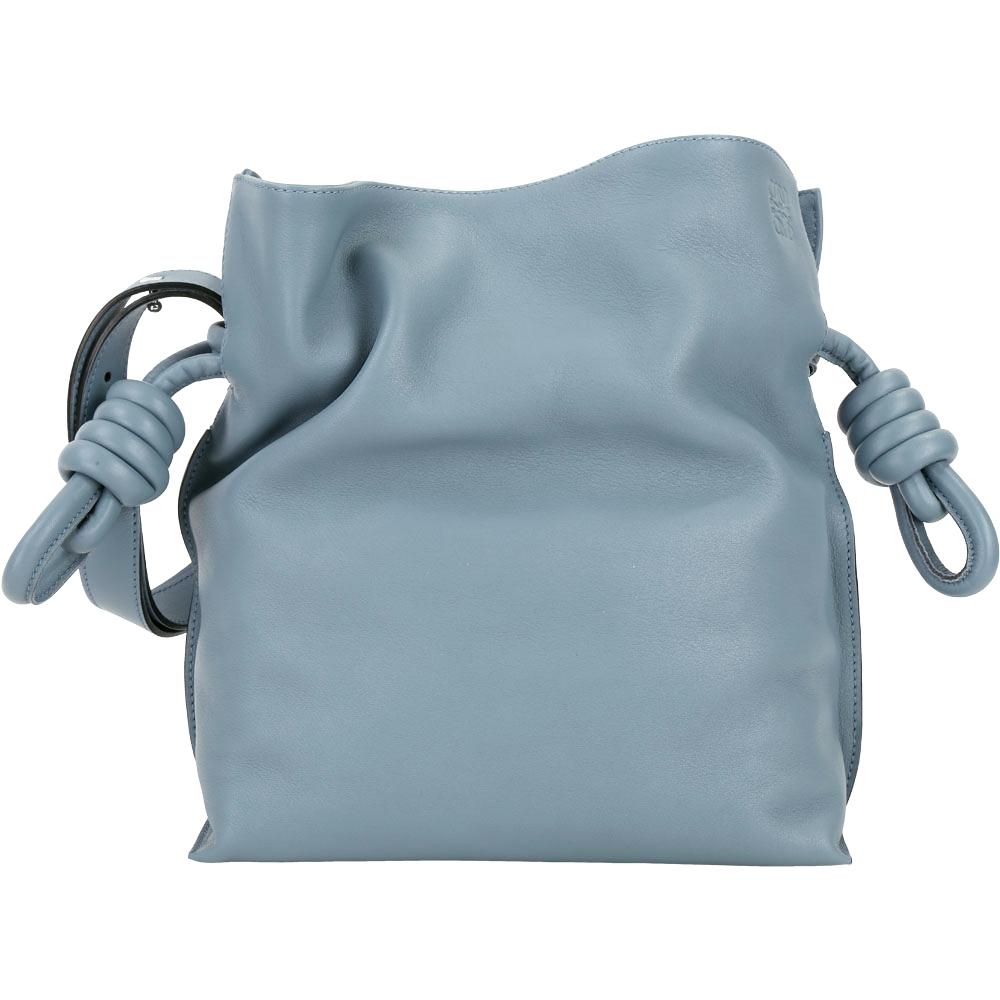 LOEWE Flamenco Knot 小牛皮束口扭結手提包(石灰藍)