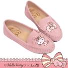 HELLO KITTY X Ann'S花園小仙子不對稱刺繡全真皮平底娃娃鞋-粉