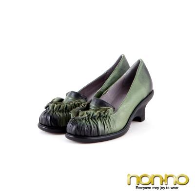 nonno  法式優雅 波浪造型蠟染低跟鞋-墨綠