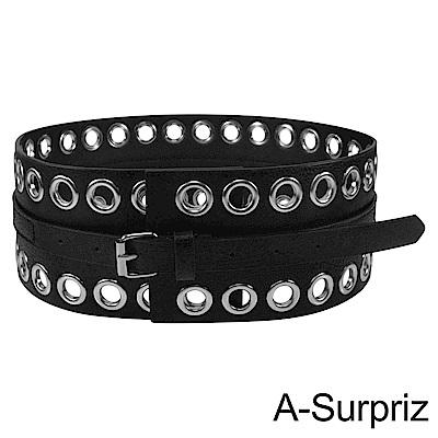A-Surpriz 個性滿版圓型鉚釘寬版腰帶(黑)