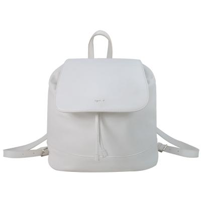 agnes b. 簡單燙銀字軟皮後背包(白)