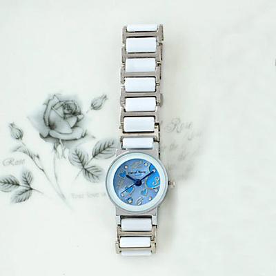 Daniel Wang 甜美愛心-切割鏡面仿陶瓷女錶-天空藍