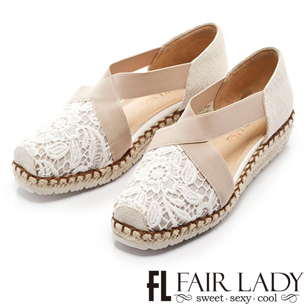 Fair Lady 優雅詮釋交叉帶草編楔型涼鞋 白