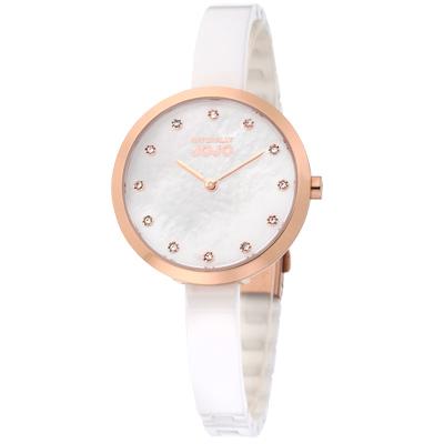 NATURALLY JOJO 純愛典雅時尚陶瓷腕錶-珍珠母貝 玫瑰金x白/33mm