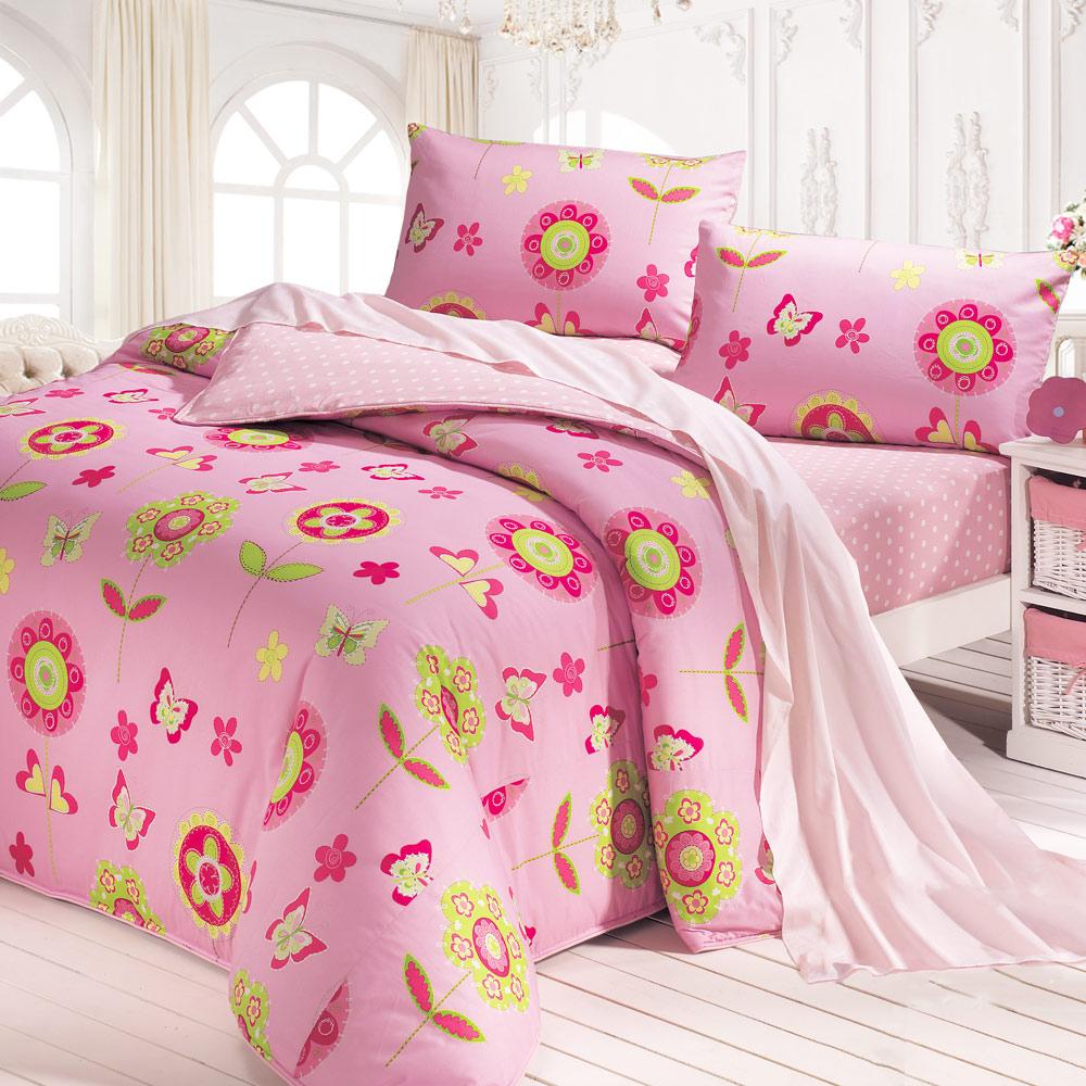 鴻宇 美國棉 防蹣抗菌 粉紅花園 雙人床包枕套三件組