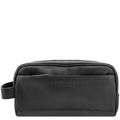 KENNETH COLE 黑色皮革壓紋化妝包/手抓包