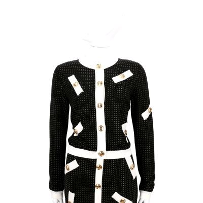 BOUTIQUE MOSCHINO 黑x白色點點排釦針織外套