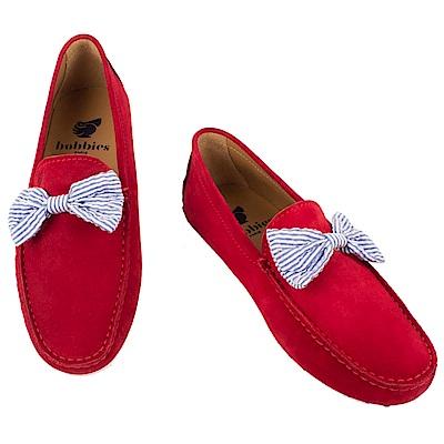 Bobbies 男士俏皮蝴蝶結豆豆鞋-紅
