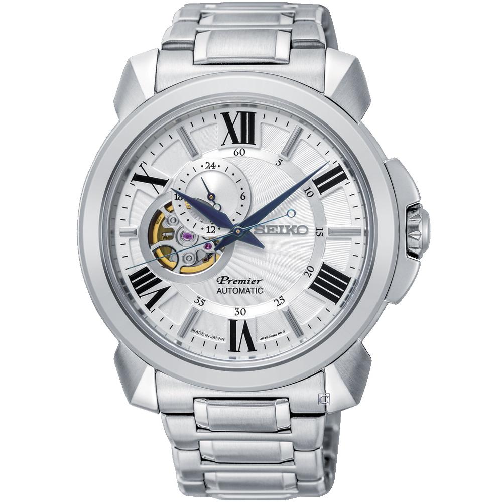 SEIKO精工Premier開芯羅馬機械腕錶(SSA691J1)-42mm