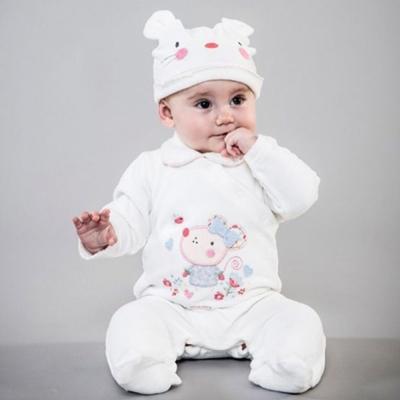 Minoti 英國 白色小老鼠絨面長袖包腳連身衣帽子 2 件組