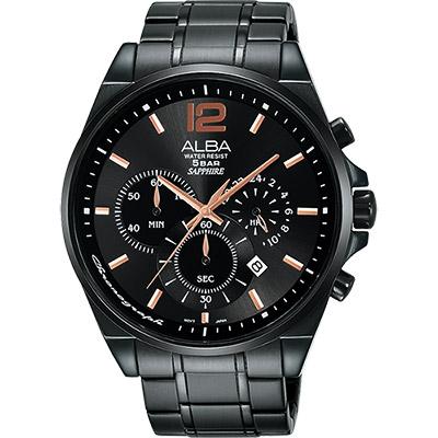 ALBA Prestige 街頭酷流行計時腕錶(AT3A65X1)-鍍黑/44mm