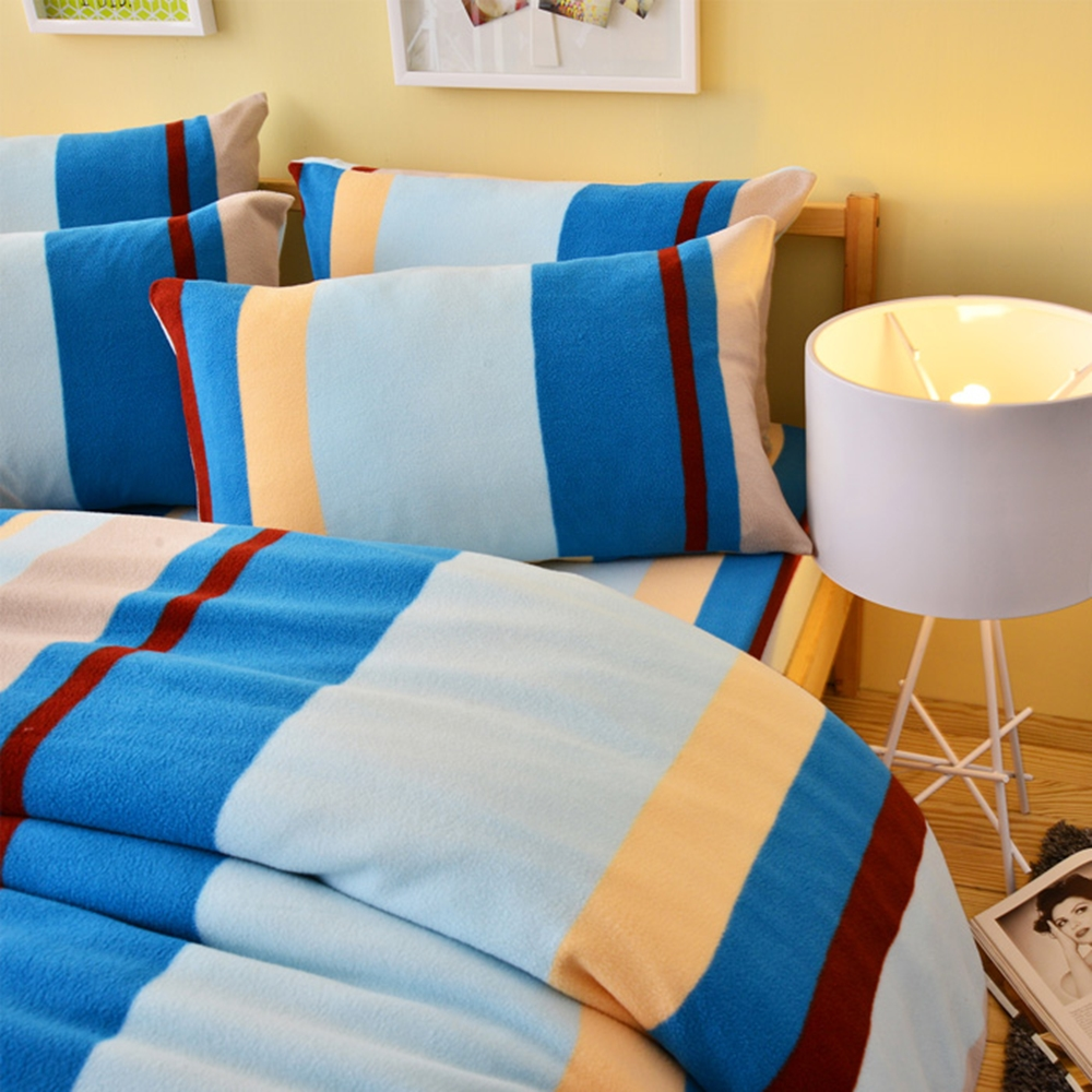 Ania Casa 北歐條紋藍 加大四件式 搖粒絨 台灣製 床包被套四件組