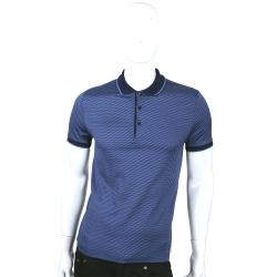 VERSACE 藍色斜紋設計短袖POLO衫