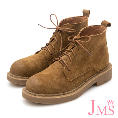 JMS-休閒俏麗擦色真皮綁帶短踝靴棕色