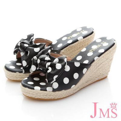 JMS-波點蝴蝶結魚口楔型涼拖鞋-黑色