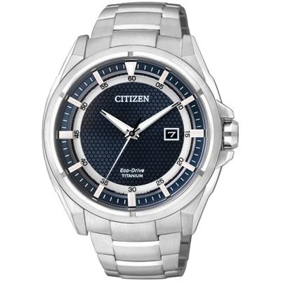 CITIZEN Eco-Drive 超級鈦光動能時尚腕錶(AW1401-50L)-藍/43mm