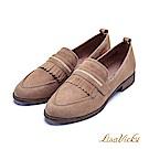 LisaVicky 經典英倫復古羊皮舒適粗低跟尖頭樂福鞋-深棕色