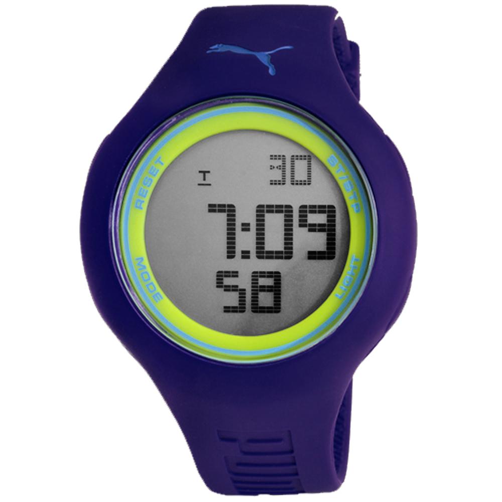 PUMA 陽光信號電子腕錶-藍x黃/45mm
