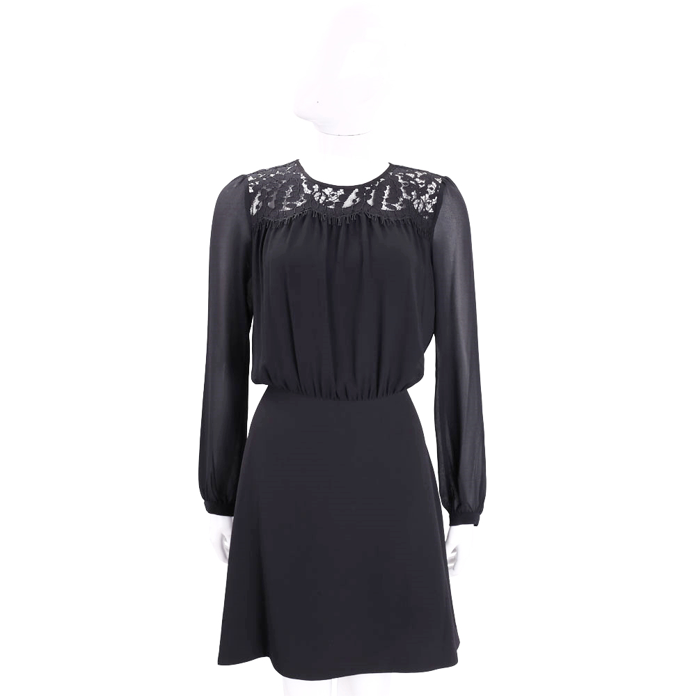 Michael Kors Lace Combo 黑色蕾絲拼接透膚長袖洋裝