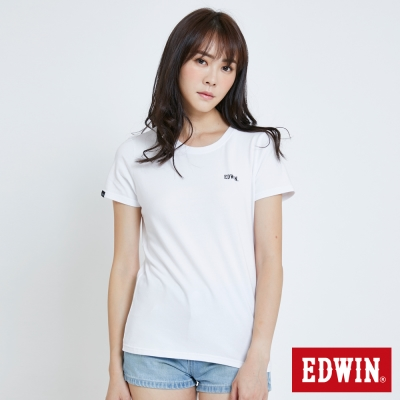 EDWIN 基本LOGO搭配短袖T恤-女-白色