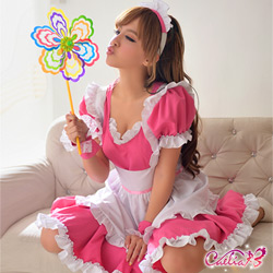 Caelia 櫻桃紅五件式甜美女僕角色扮演服