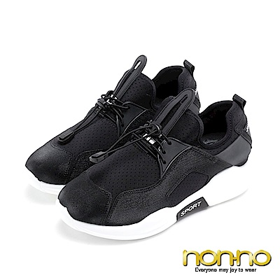 nonno 造型伸縮綁帶 低調閃亮休閒布鞋 黑