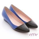 effie 通勤百搭 全羊皮素面拼色楔型跟鞋 藍