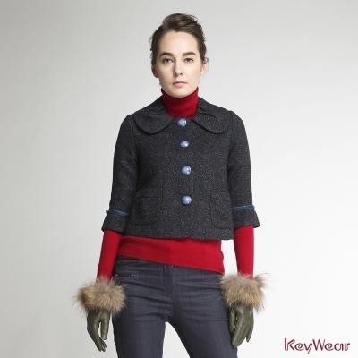 KeyWear奇威名品-網路獨家-古典甜美毛呢短版七分袖外套