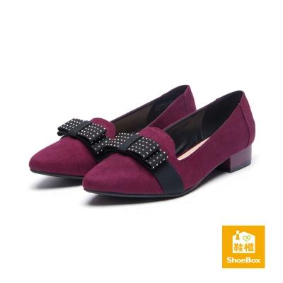 鞋櫃ShoeBox-平底鞋-尖頭布料蝴蝶結粗跟平底鞋-酒紅
