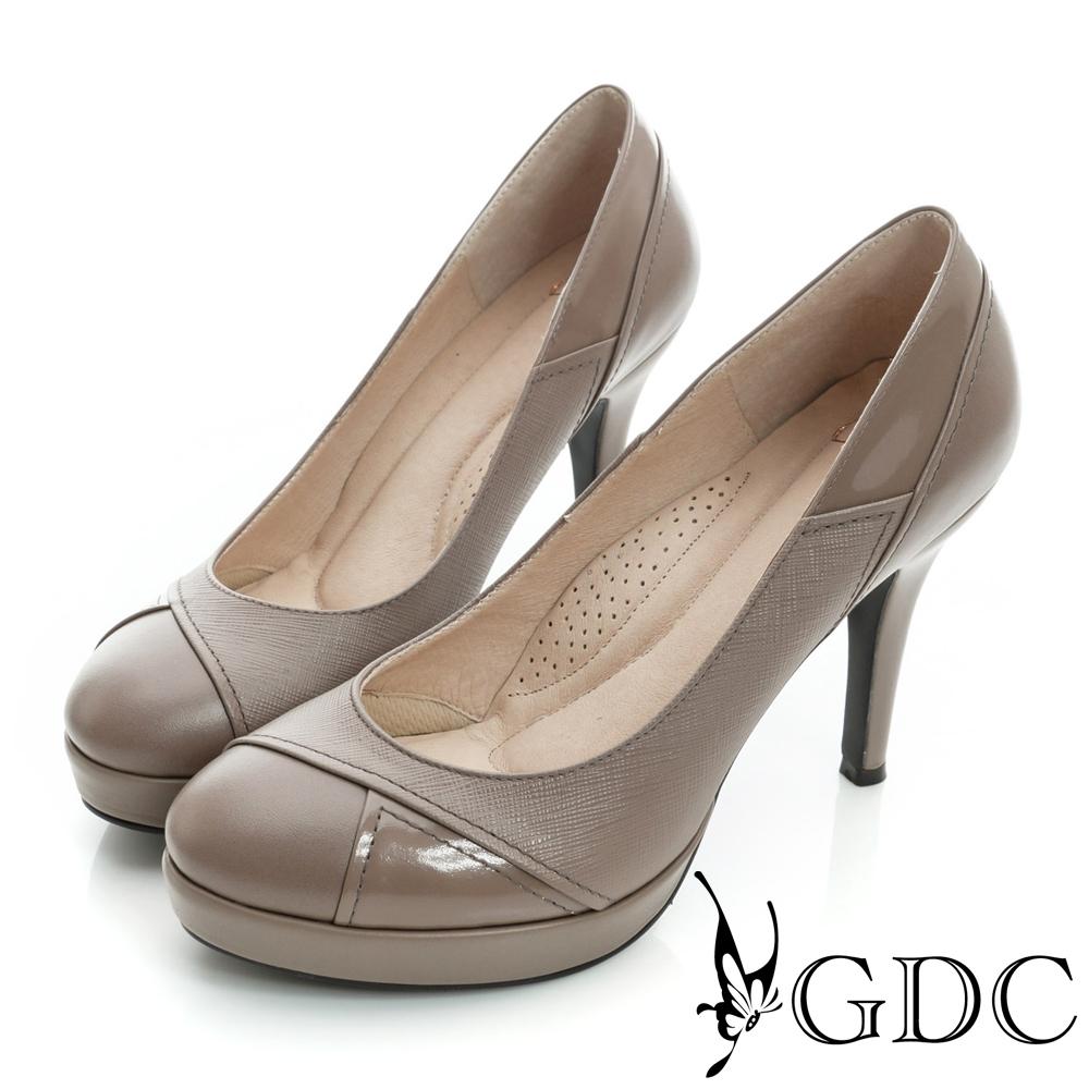 GDC都會-細格紋幾何拼接真皮高跟鞋-紫色