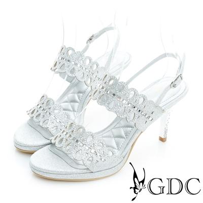 GDC-性感水鑽簍空設計高跟一字涼鞋-銀色