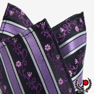 極品西服-100-絲質口袋方巾-紫斜紋