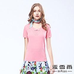 麥雪爾 鏤空花型蝴蝶結棉質針織衫-桃粉
