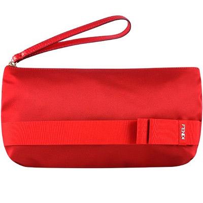 FENDI 緞面綁結手拿/宴會包(紅色)