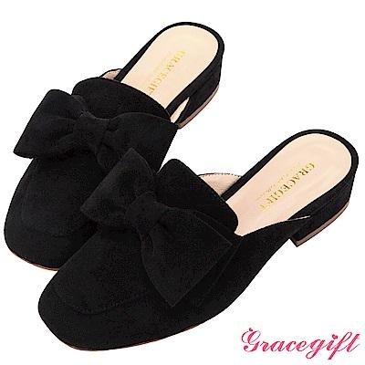 Grace gift-麂皮絨方頭蝴蝶結穆勒鞋 黑