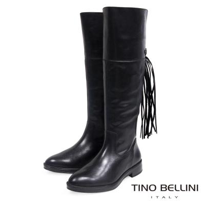 Tino Bellini 巴西嬉皮流蘇真皮舒適平底長筒靴_黑