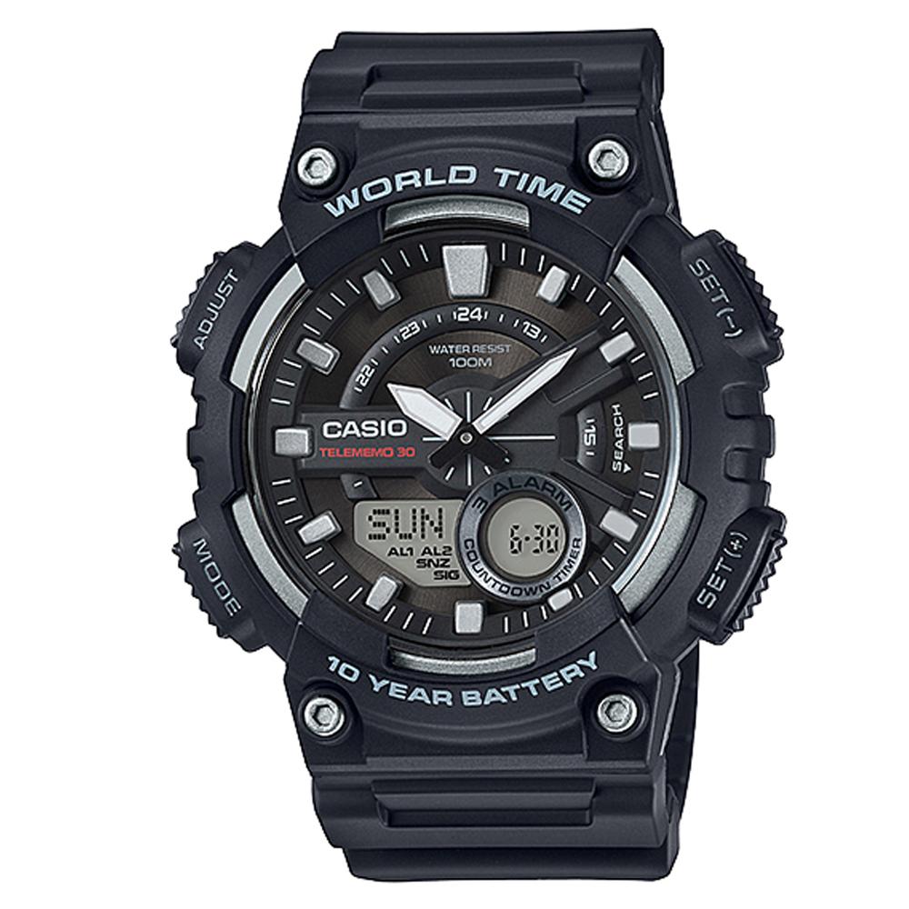 CASIO 悍將世界城市玩家雙顯運動錶(AEQ-110W-1A)-黑/46.6mm