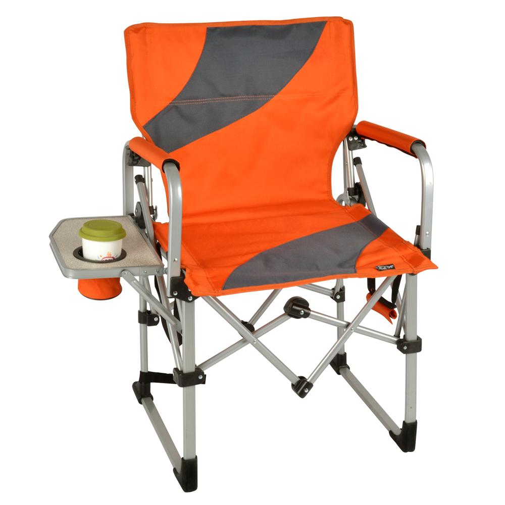 【LIFECODE】豪華折疊導演椅(附杯架) /折疊椅/休閒椅 (桔紅色)